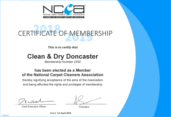 Clean & Dry Doncaster Carpet Cleaner NCCA member certificate