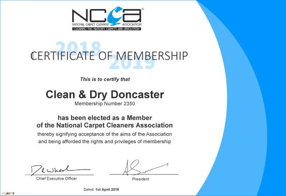 Clean & Dry Doncaster Carpet Cleaner NCCA member certificate
